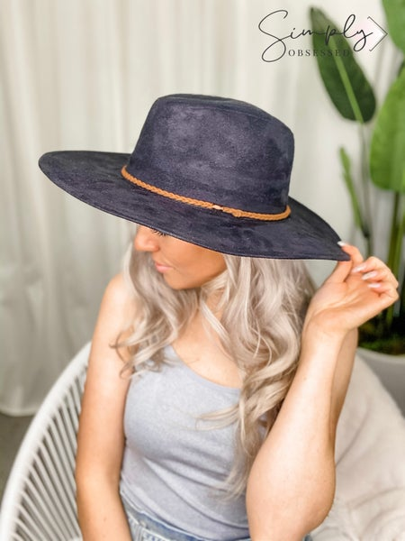 Faux Suede Outback Panama Hat