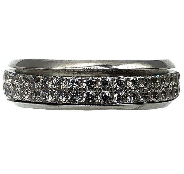 Silver CZ Spinner Ring
