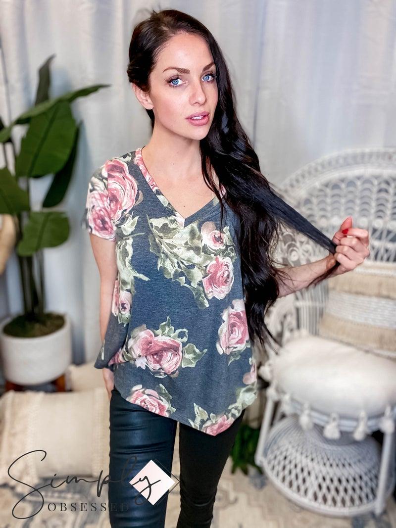 Sew In Love - Short Sleeve V Neck Floral Top