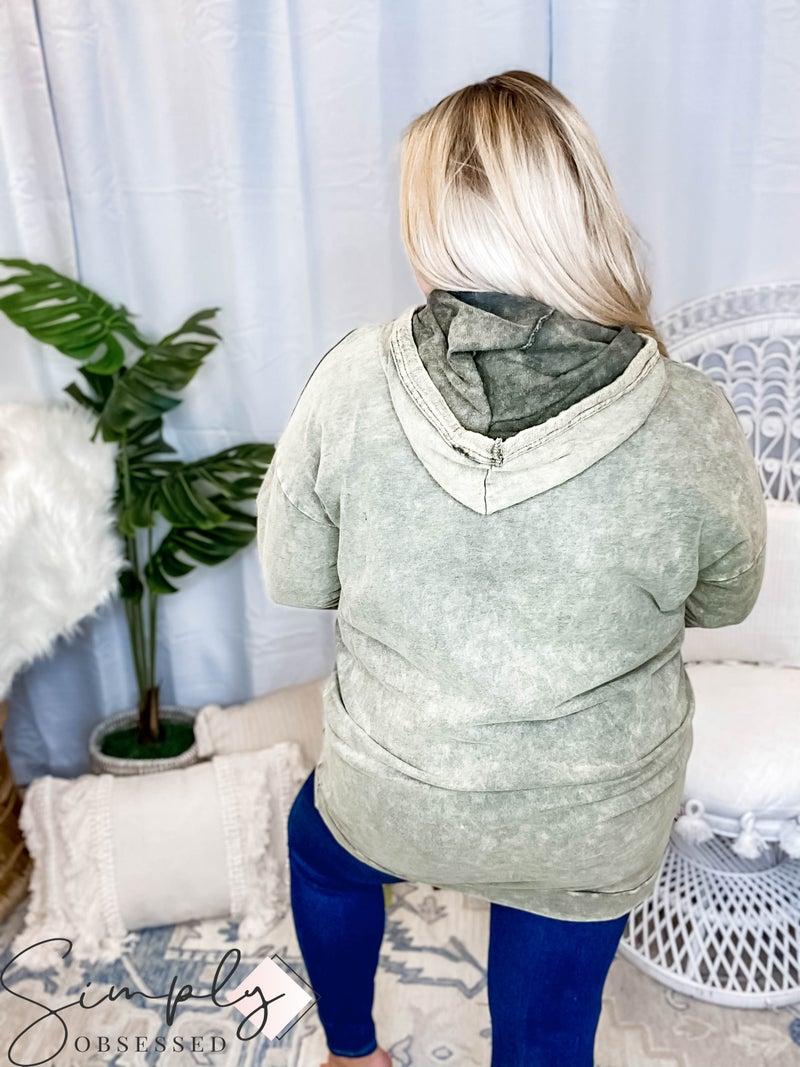 Oddi - Acid wash french terry hoodie detail dress(All Sizes)