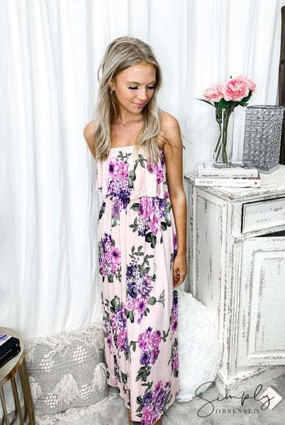 Urban Chic - Ruffle layered tube top floral maxi dress