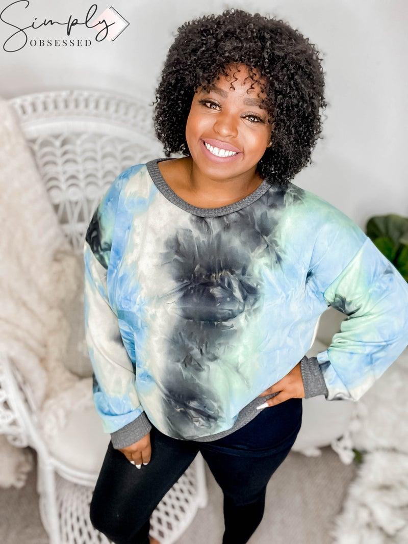 WHITE BIRCH-Long Sleeve Tie Dye Knit Sweater