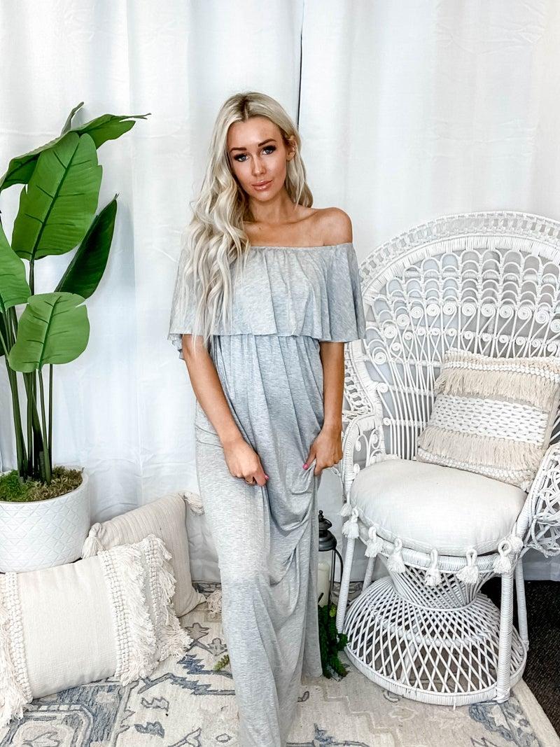 Vanilla Bay - Ruffle off shoulder moda maxi dress