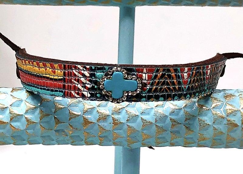 Leather Mini-Cuff w/Turquoise Cross