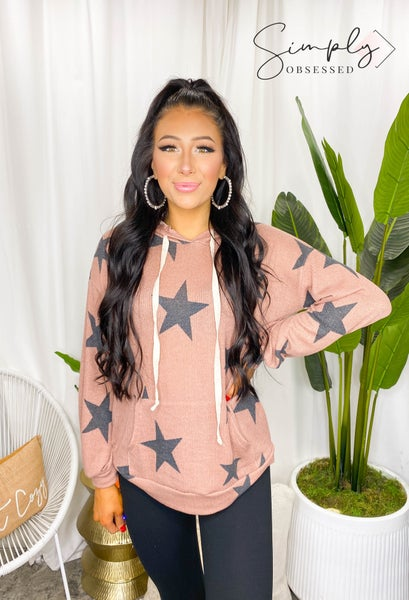 Vanilla Bay - Long sleeve star print drawstring knit hooded top