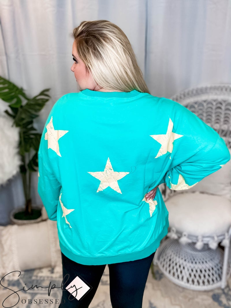 Oddi - Long sleeve scratched star print washed solid french terry pullover(All Sizes)