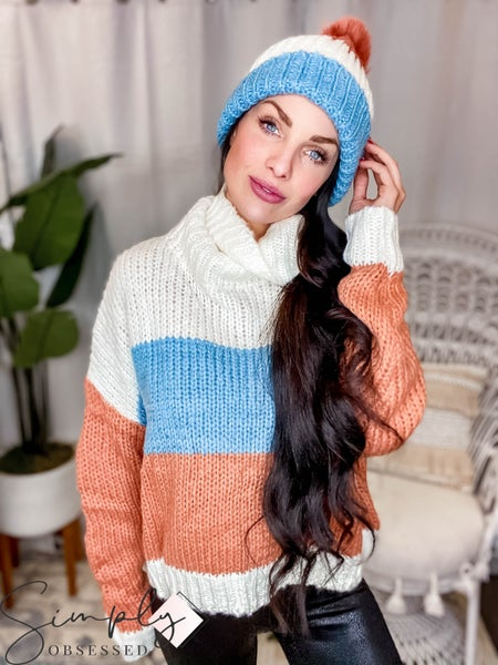 Blue B - Color Block Turtle Neck Sweater W/ Matching Knit Hat