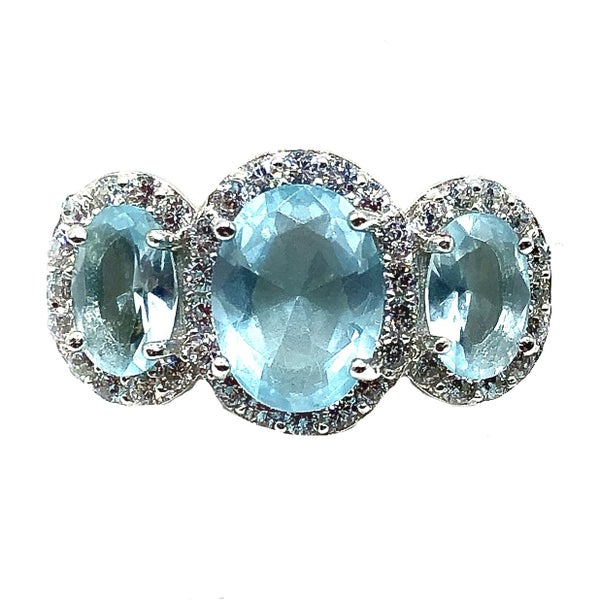 Triple Light Blue Pave Crystal Ring