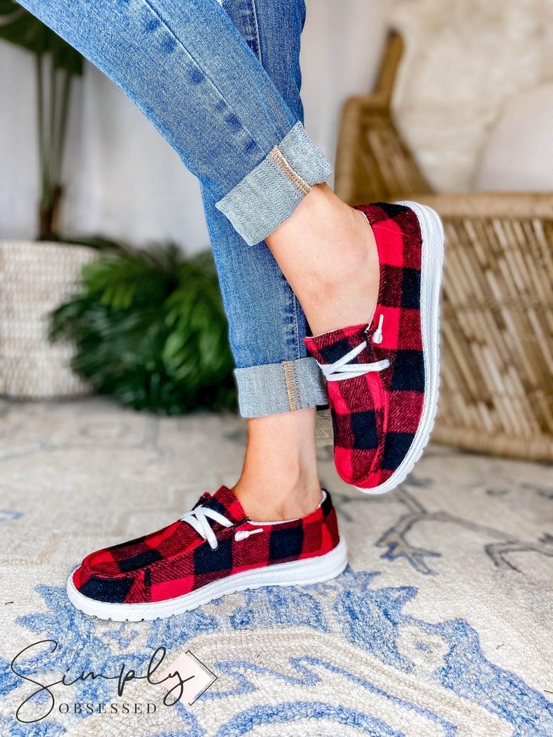 Gypsy Jazz - Plaid Slip On Tie Up Sneaker