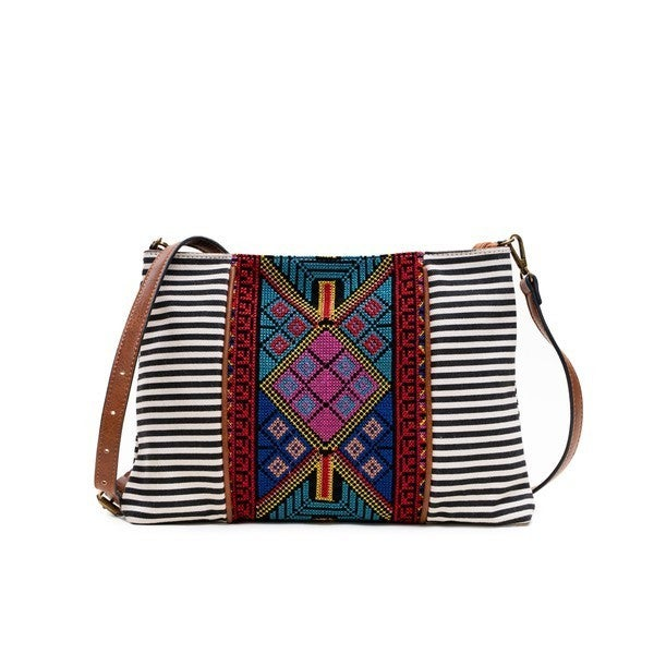 Jen & Co - Aztec embroidered crossbody with adjustable/detachable vegan leather strap