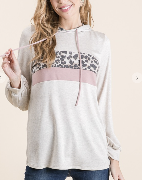 Vanilla Bay - Long sleeve knit hoodie with color block and leopard print detail
