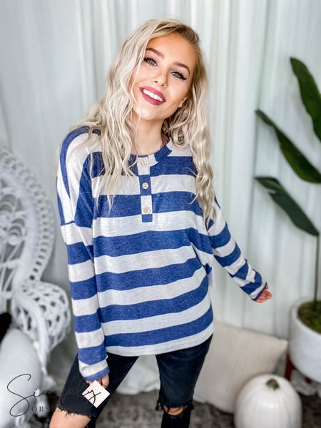 First Dibs Hailey & Co - Soft cashmere feel jumbo stripe boxy long sleeve top with wood button