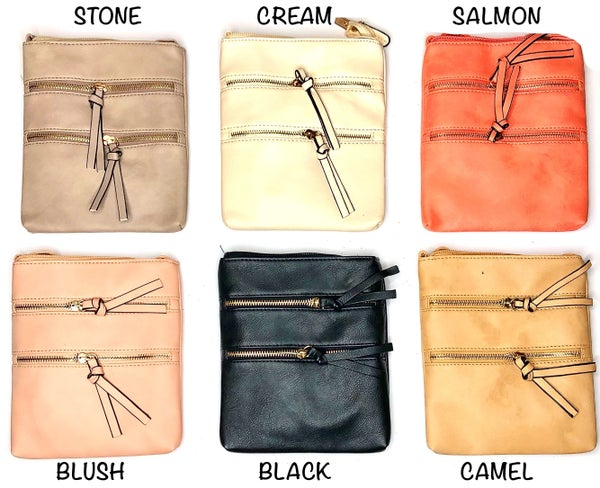 JULIA ROSE-multi zipper pocket crossbody bag