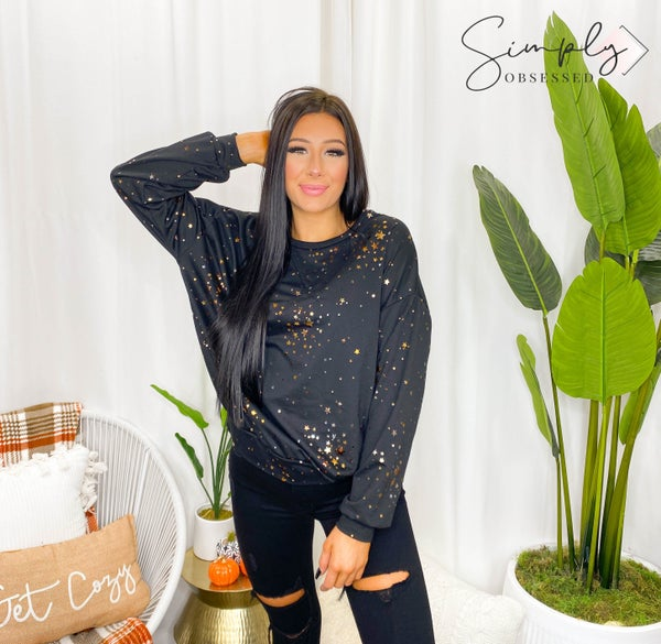 Fantastic Fawn - Long sleeve metallic foil star print sweatshirt