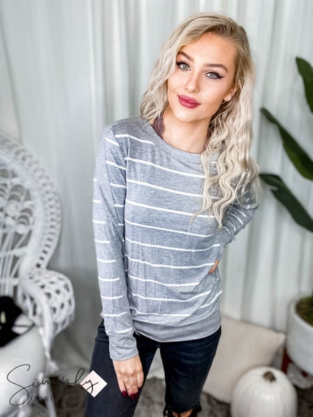 First Dibs Hailey & Co. -  Striped long sleeve rayon span top with contrasting solid panels and bands