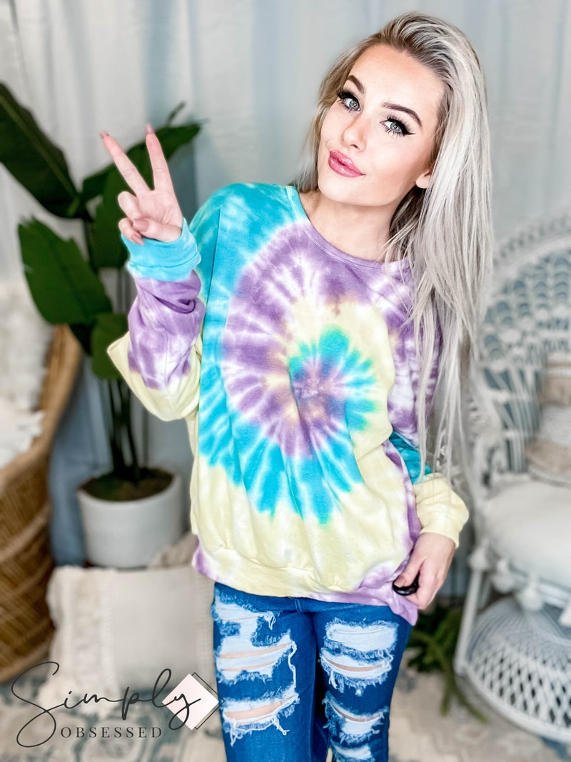Fantastic Fawn - Long sleeve multi color tie dye swirl sweatshirt