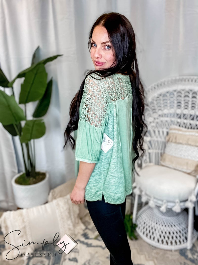 POL - Boho 3/4 Sleeve Crochet Top