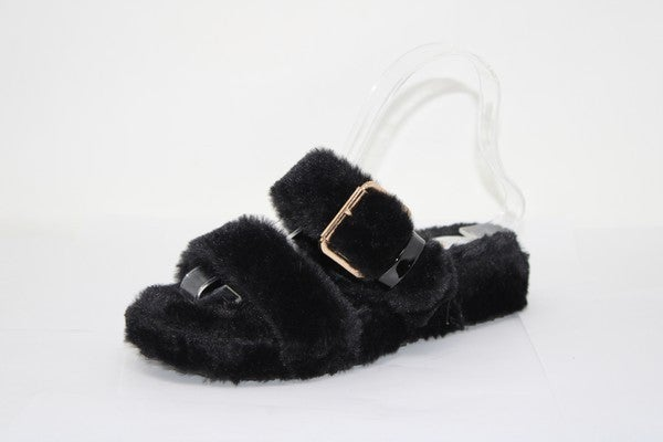 Mata Shoes - Fuzzy strap detail slip on sandals