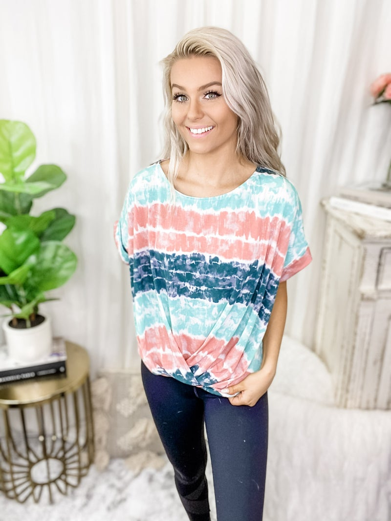 White Birch - Short sleeve tie dye knit top with round neck