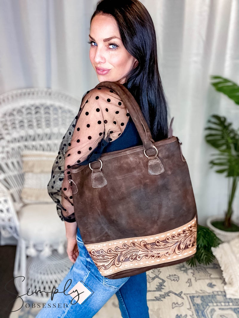 American Darling - Hand Crafted Genuine Leather Detailed Tote