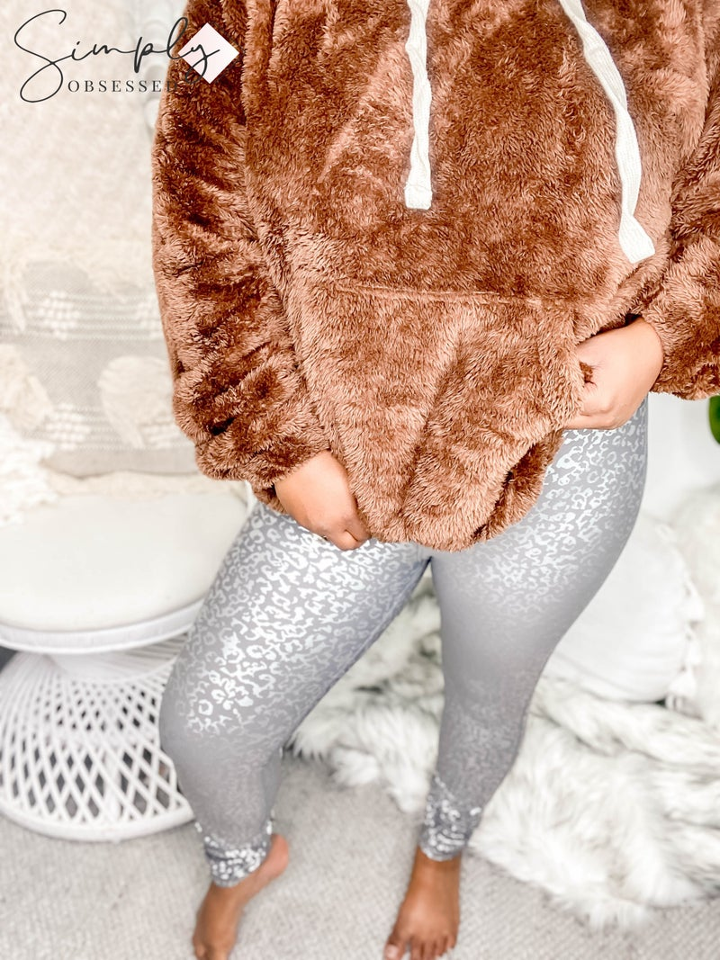 Mono B - Silver foil leopard print high waist leggings (plus size)