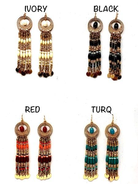 Bohemain Inspired Mixed Beads amd Golden- Hued Disc Charm Tassel Dangle Hook Earrings