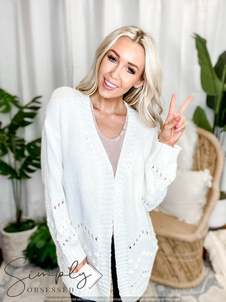EE:Some - Ribbed Knit Open Front Cardigan