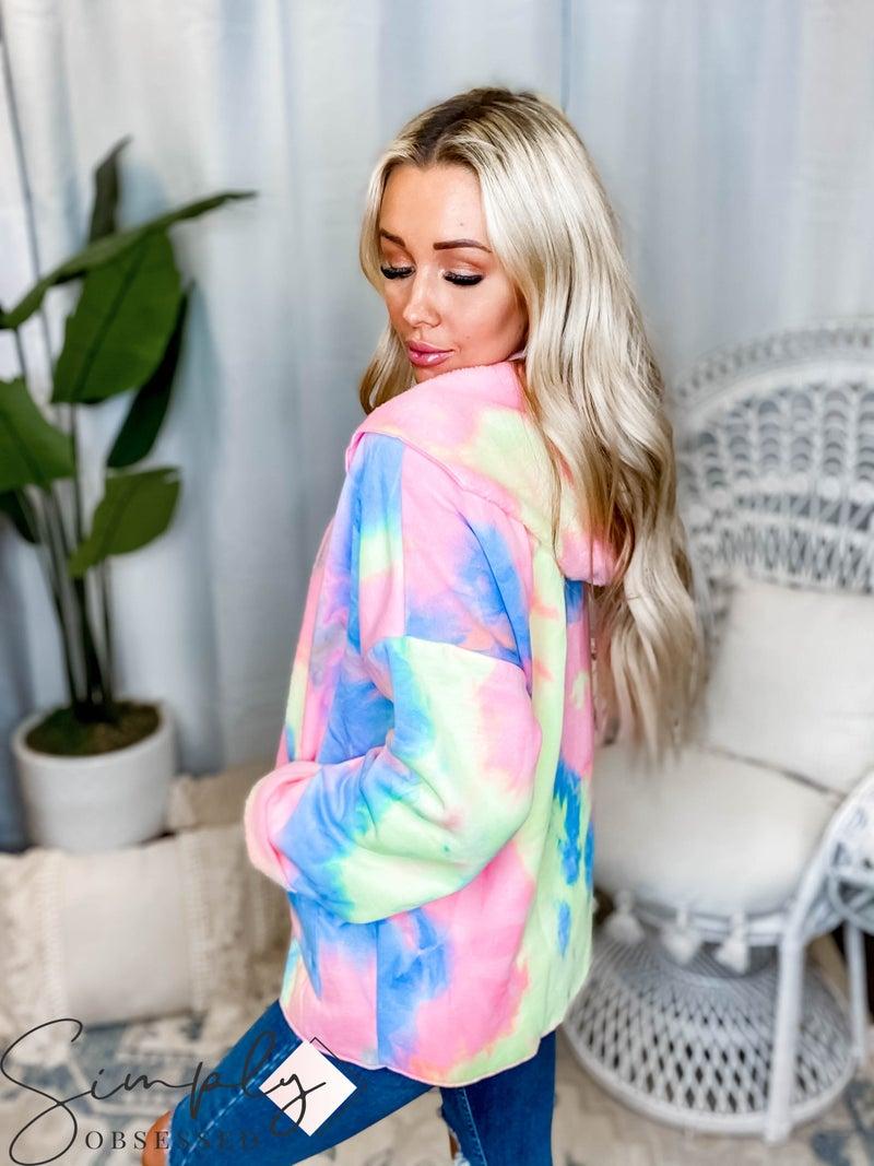 Oddi - Tie dye printed oversized pocket detail hoodie jacket(All Sizes)