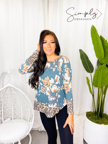 Sew in Love - Long Sleeved Floral Top w/ Cheetah Print Detail