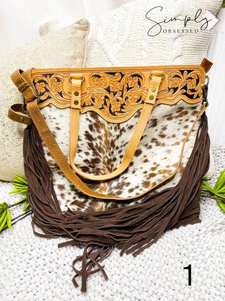 Hand crafted leather work tassel detail cross body handbag