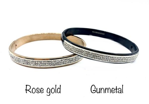 Stainless Steel Thin Bracelet w/ MINI CZ Crystals