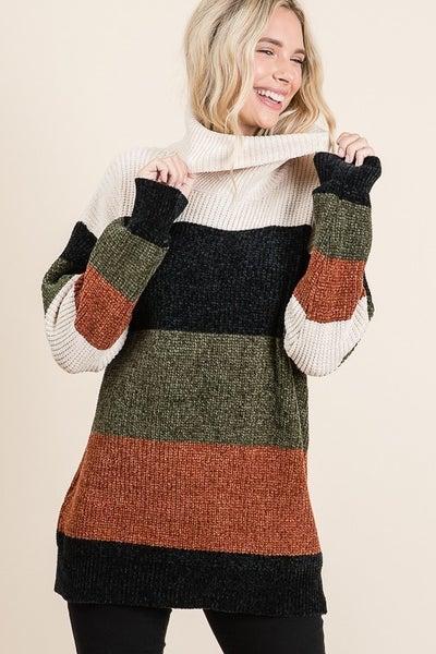 Vanilla Bay - Soft turtle neck colorblock striped sweater