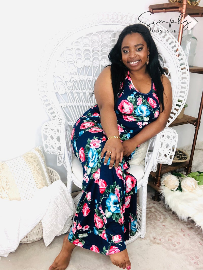 5BESTIES-Floral Print T Strap Back Maxi Dress With Side Pocket