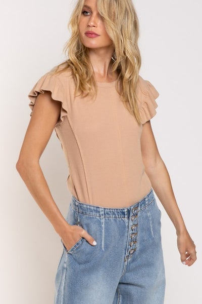 POL - Flowy Ruffle Sleeve Detail W/ Back Zipper Top