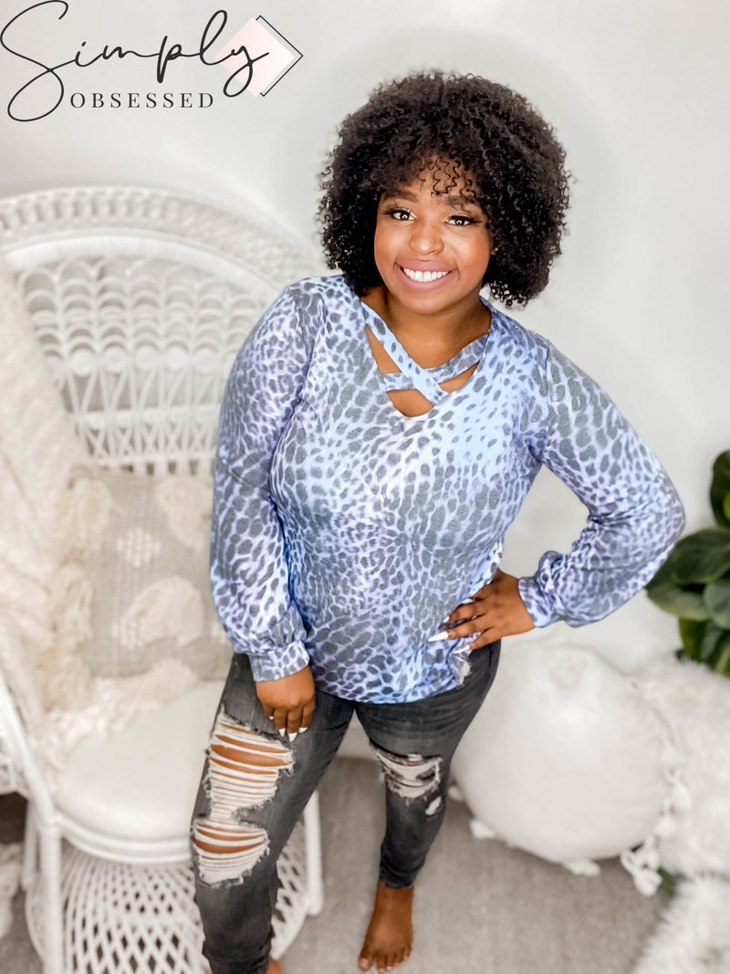 White Birch - Long sleeve leopard print top with criss cross chest detail (all sizes)