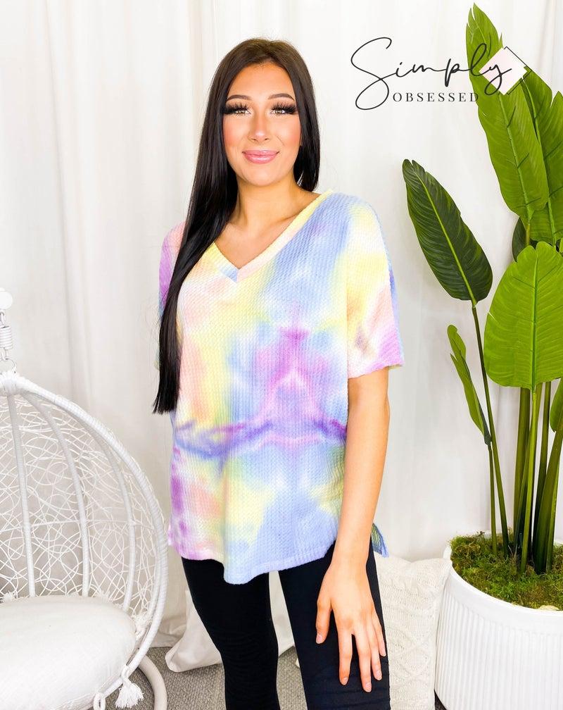 Haptics - Short sleeve tie dye waffle knit loungewear top