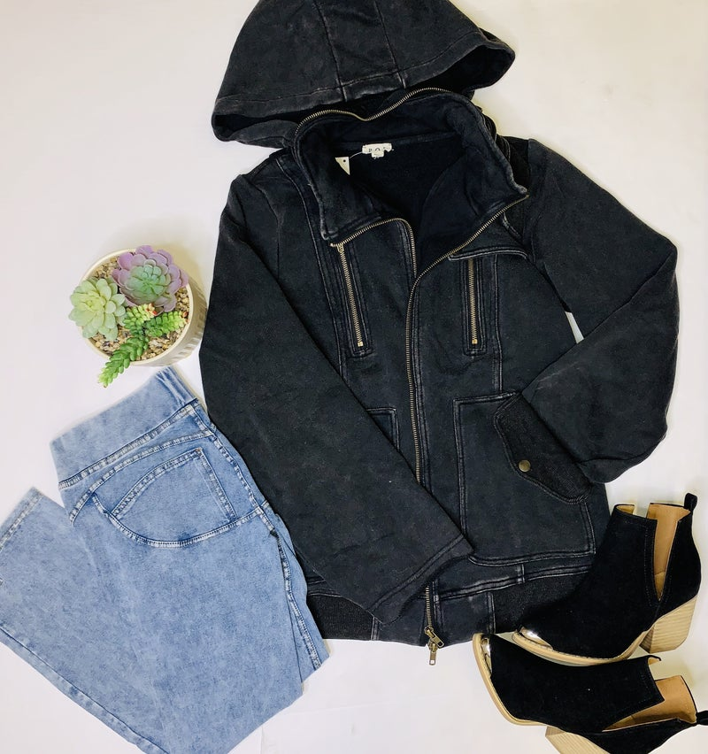 POL- French terry jacket featuring high mock neck