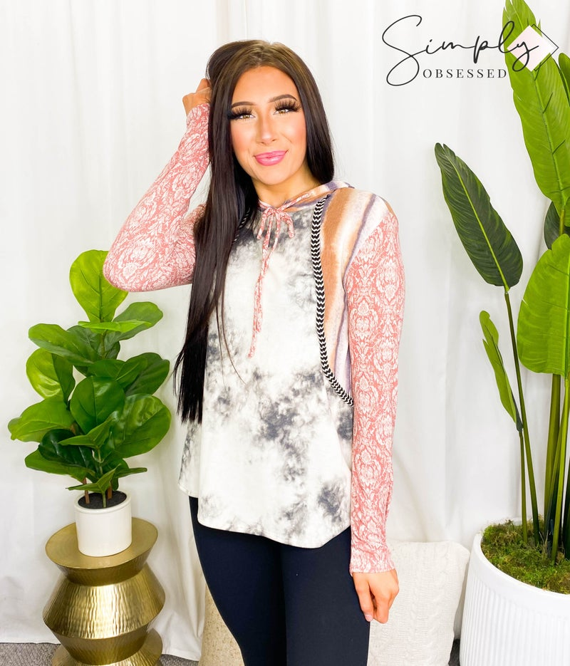 BUCKETLIST-multi print mix and match top with hoodie