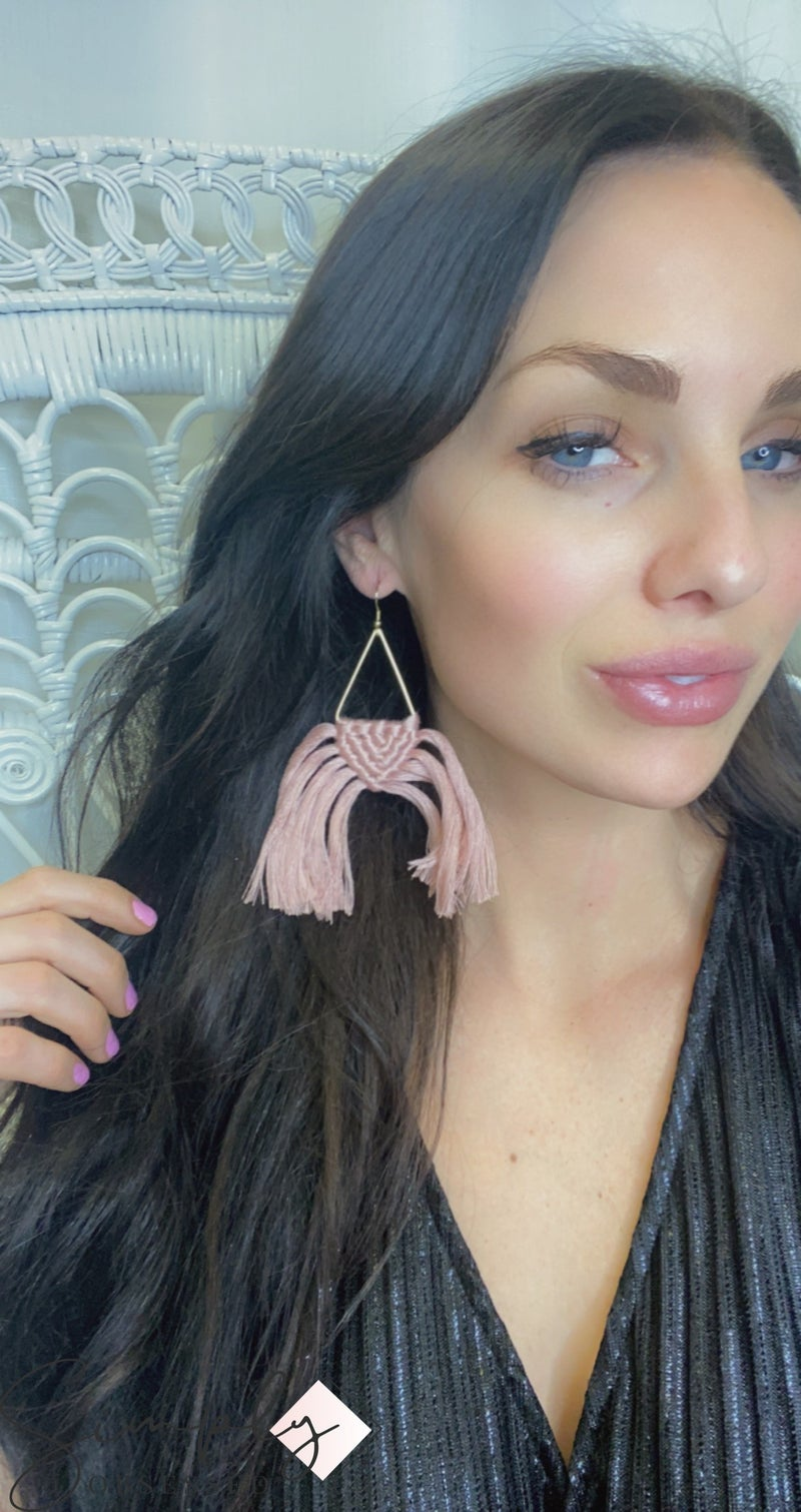BOHO- Gold Triangle Earrings with Braided Blush Detail