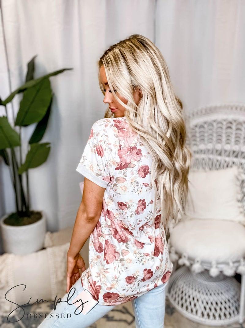 Vanilla Bay - Short sleeve floral print knit top