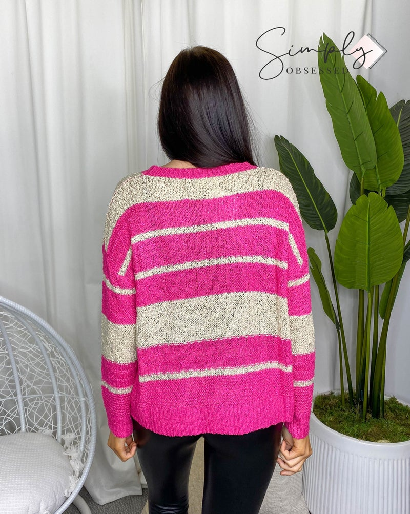 Adora - Long sleeve multi striped soft sweater
