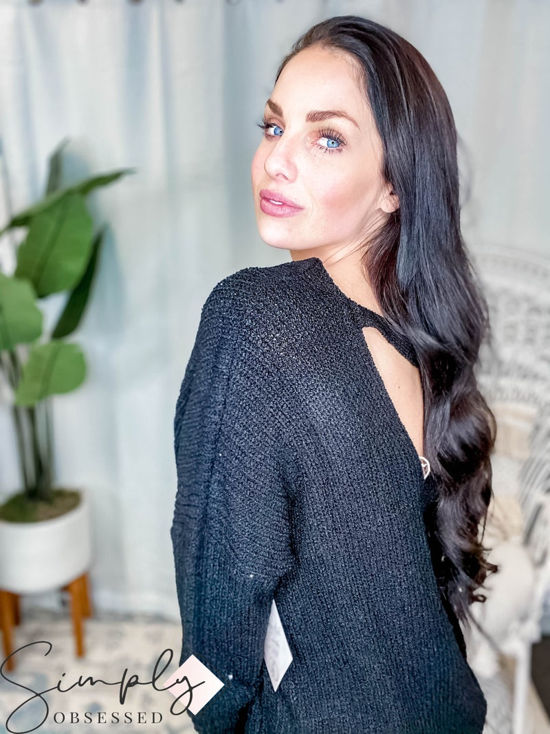 Jodifl - Solid Ribbed Knit Open Back Sweater Top