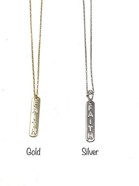 CZ Faith Tag w/ Bezel Dangle Necklace