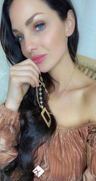 TPJ - Long Toggle Chain w/ Gem detail Necklace