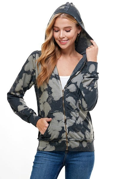 T-Party - Tie dye hooded zip up jacket with lace up back detail