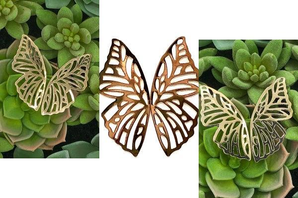 E R - Gold Butterfly Earrings