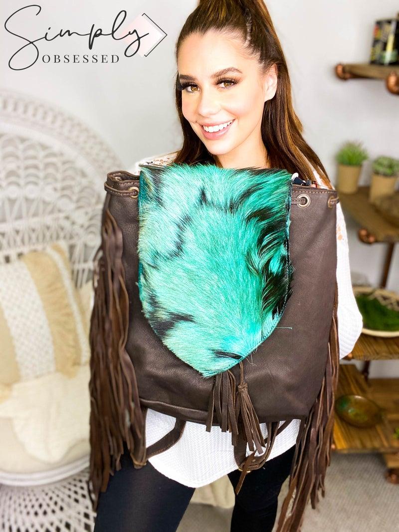 American Darling - Genuine leather tassel detail large back pack