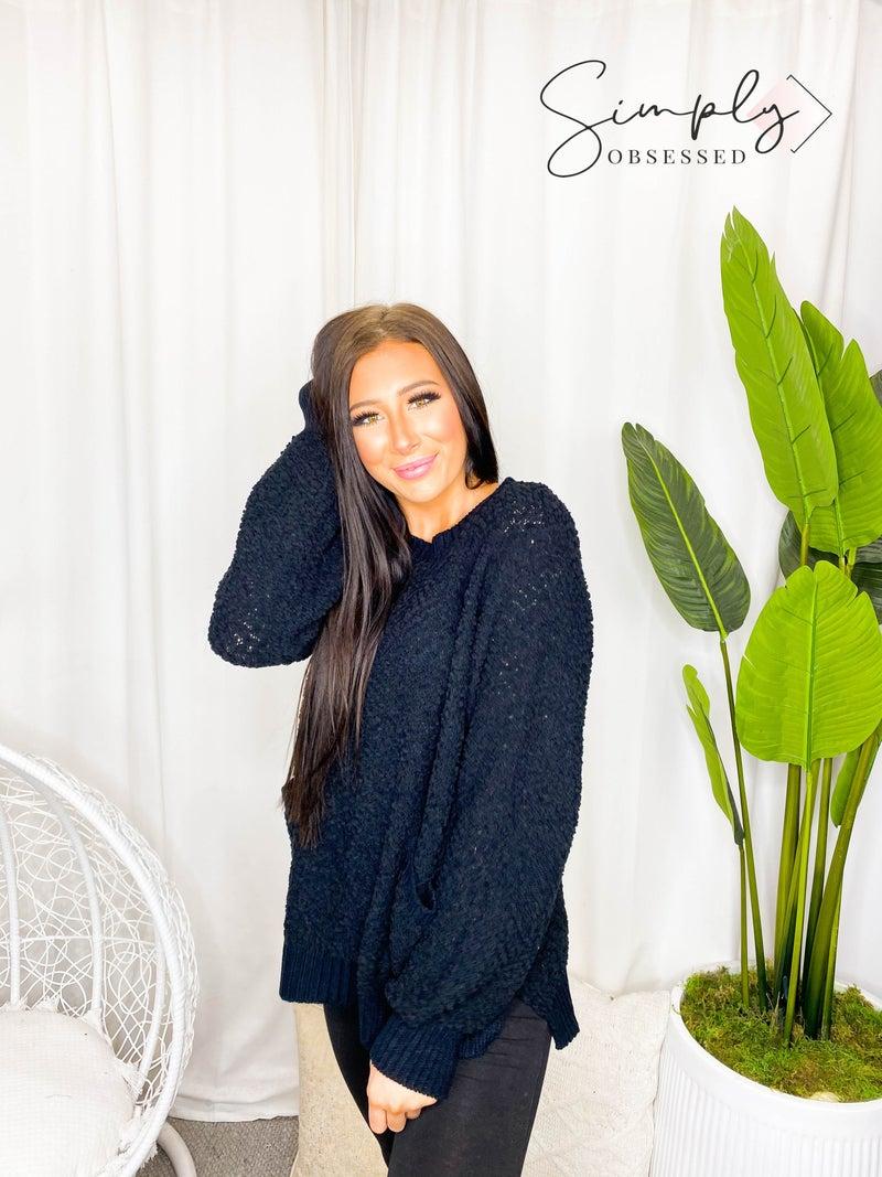Front Pocket Popcorn Sweater with Side Slits