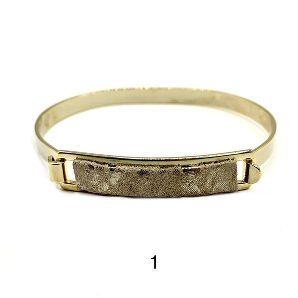 Taupe Silver Metallic Leather ID Bracelet