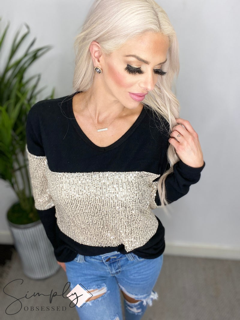 Vanilla Bay - Long sleeve brushed sequin color block v-neck top (all sizes)